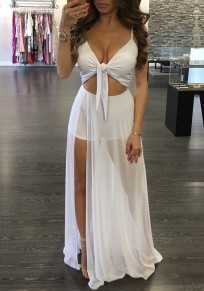 White Backless Spaghetti Strap Side Slit Ruched Off Shoulder Chiffon Romper with Maxi Overlay