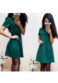 Green Beading Round Neck Short Sleeve Casual Mini Dress