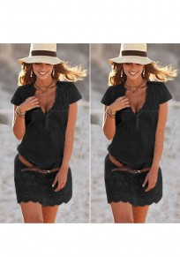Black Patchwork Single Breasted Lace Wavy Edge Elegant Mini Dress