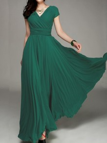 Dark Green Pleated Double-deck Bohemian Wrap Short Sleeve Elegant Maxi Dress