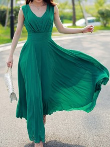 Turquoise Green Pleated Zipper Chiffon V-nevk Casual Bohemian Flowy Elegant Banquet Maxi Dress