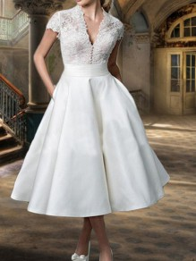White Patchwork Lace Grenadine V-neck Short Sleeve Elegant Wedding Gowns 50s Prom Midi Dress