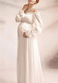 White Ruffle Drawstring Off Shoulder Maternity Flare Sleeve for Photos Shoot Maxi Dress