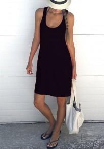 Midi-robe bretelle à manches longues sans manches lâche décontractée noire