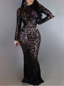 Black Geometric Sequin Glitter Cut Out Long Sleeve Floor Length Prom Evening Party Maxi Dress
