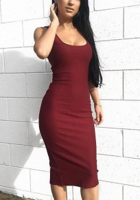 Wine Red U-neck Sleeveless Slim Thin Midi Dress