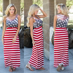 Red Striped Draped American Flag Print Shoulder-Strap Round Neck Sleeveless Fashion Maxi Dress
