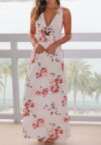Weiße Blumen Tief V-Ausschnitt Ärmelloses Elasthan Maxi Kleid