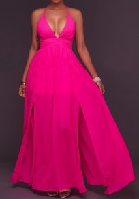 Rose Carmine Backless Cross Back Cut Out Plunging Neckline Sleeveless Maxi Dress