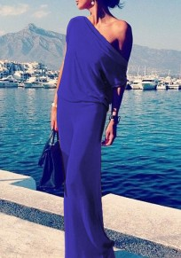 Cobalt blue Round Neck Short Sleeve Maxi Dress