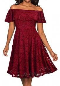 Burgundy Floral Lace Ruffle Draped Off Shoulder A-line Elegant Midi Dress