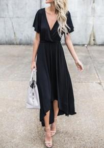 Vestito maxi cintura irregolare drappeggiata in v-collo manica corta moda nero