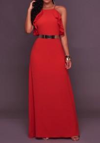 Robe longue bretelle à volants dos nu drapé élégant de soirée rouge