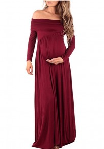 Red Satin Draped Off Shoulder Boat Neck Long Sleeve Ruched Maternity Maxi Dress