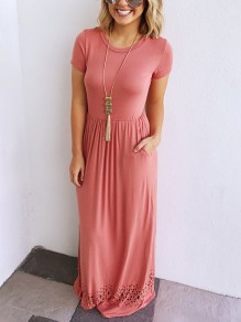 Pink Cut Out Draped Pleated Round Neck Short Sleeve Comfy Casual Maxi Dress