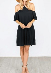Black Halter Neck Off Shoulder Ruffle Draped Cross Back Sleeveless Mini Dress