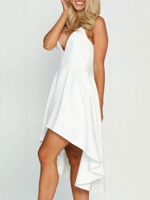 White Draped Swallowtail High-low Spaghetti Strap Deep V-neck Homecoming Party Prom Midi Dress