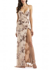 White Floral Backless Boho Spaghetti Strap Gold Sequin V-neck Flowy Party Maxi Dress