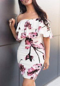 White Flowers Print Cascading Ruffle Backless Off Shoulder Bodycon Party Mini Dress