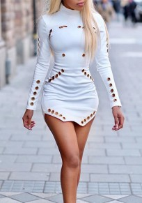 White Cut Out Double Slit Long Sleeve Clubwear Homecoming Mini Dress
