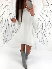 White Round Neck Long Sleeve Casual Dacron Mini Dress