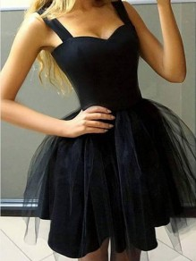 Black Patchwork Grenadine Zipper Backless High Waisted Homecoming Party Cute Tutu Mini Dress