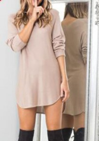 Khaki Irregular High-low Round Neck Long Sleeve Mini Dress