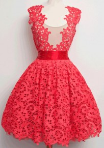 Red Patchwork Lace Sleeveless Deep V Tutu Prom Evening Party Bridemaid Prom Midi Dress
