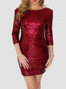 Red Sequin Backless 3/4 Sleeve Sparkly Banquet Christmas Homecoming Party Mini Dress