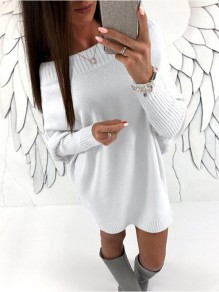 White Oblique Shoulder Plus Size Oversized Knitted Sweater Mini Dress