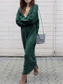 Green Draped Deep V-neck Long Sleeve Casual Elegant Fashion Long Knit Jumper Maxi Dress