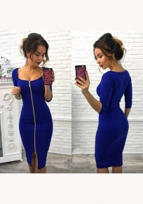 Blue Plain Zipper U-neck Three Quarter Length Sleeve Fashion Midi Dress