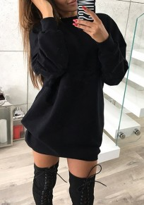 Black Round Neck Long Sleeve Casual Mini Dress