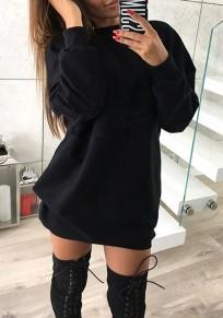 Schwarz Rundhals Langarm Lässige Pullover Minikleid Pulloverkleid Longpulli Damen Mode Günstige