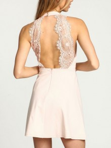 White Patchwork Lace Cut Out Flare Out Halter Neck Homecoming Party Mini Dress