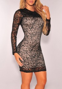 Black Patchwork Grenadine Bodycon Long Sleeve Party Mini Dress