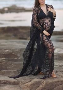 Robe longue de grossesse en dentelle transparent dos nu élégant shooting photo noir
