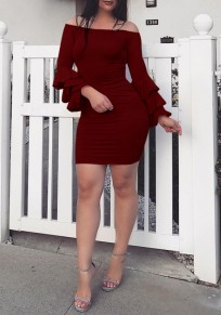 Burgundy Ruffle Off Shoulder Backless Long Sleeve Bodycon Party Club Mini Dress