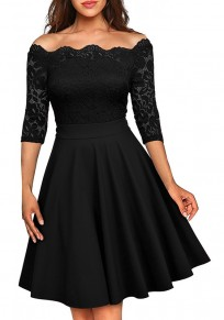 Black Patchwork Irregular Lace Boat Neck 3/4 Sleeve Midi Dress