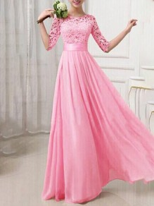 Rose Red Patchwork Lace Round Neck Elbow Sleeve Elegant Evening Party Bridesmaid Prom Maxi Dress