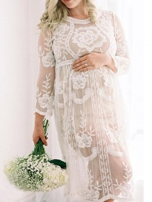 White Floral Lace Grenadine Embroidery Long Sleeve Maternity Elegant Beach Cover up Midi Dress