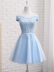 Light Blue Drawstring Lace Off Shoulder Fluffy Puffy Tulle Tutu Bridemaid Prom Midi Dress