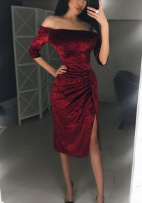 Wine Red Plain Bandeau Pleated Side Slit Elbow Sleeve Fashion Midi Dress