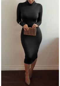 Black Bodycon High Neck Long Sleeve Elegant Midi Dress