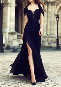 Black V-neck Side Slit Elegant New Year Eve Flowy Banquet Party Maxi Dress