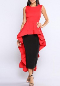 Red Irregular Chic Ruffle Swallowtail High-low Banquet Party Hem T-Shirt Dress
