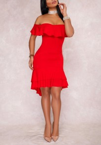 Red Off Shoulder Cascading Ruffle High-Low Prom Evening Party Midi Dress