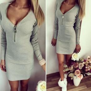 Mini vestido con cremallera v-cuello manga larga moda gris