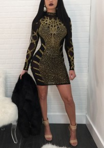 Black Mosaic Rhinestone Long Sleeve Band Collar Sparkly Bodycon Clubwear Party Mini Dress