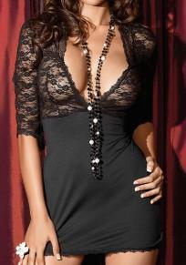 Mini abito scollatura profonda con pizzo nero